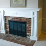 mantel remodel brick and wood 1