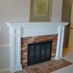 mantel remodel brick and wood 3